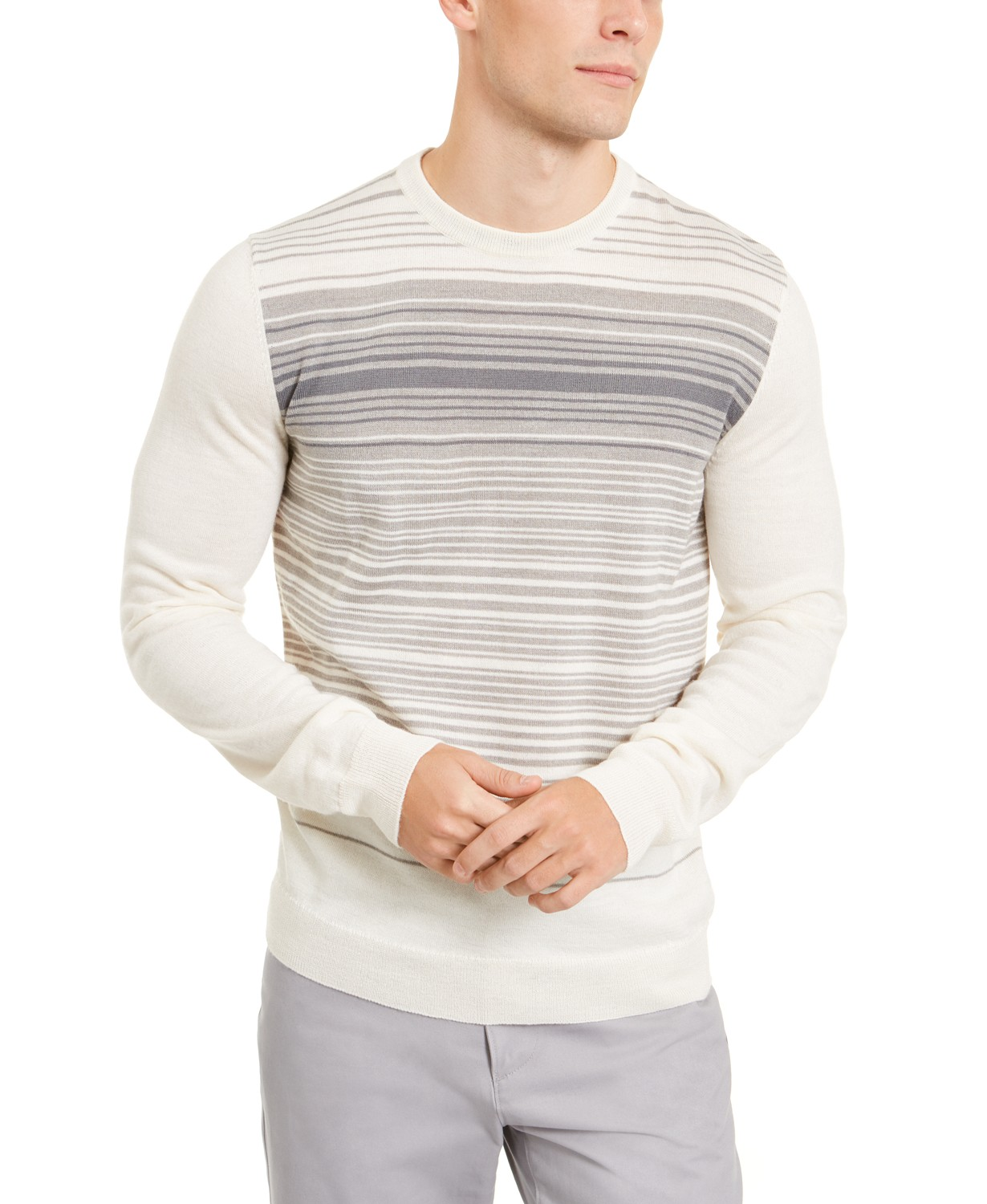 Alfani Mens Merino Blend Stripe Crewneck Sweater