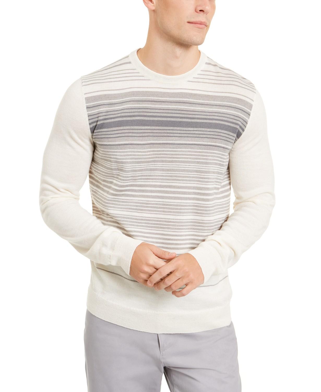 Alfani Mens Merino Blend Stripe Crewneck Sweater (Winter Ivory)