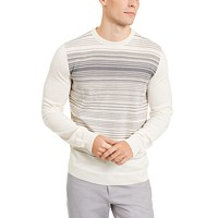 Deals on Alfani Mens Merino Blend Stripe Crewneck Sweater