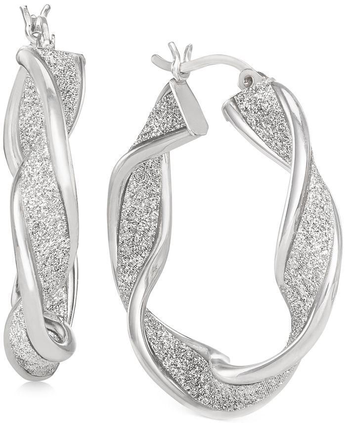 Macy's - Glitter Twist Hoop Earrings in Sterling Silver