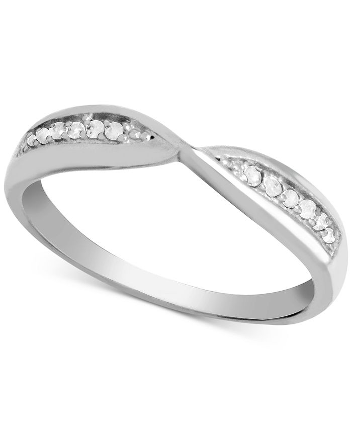 Macy's - Diamond (1/10 ct. t.w.) Bypass Band Ring in Sterling Silver