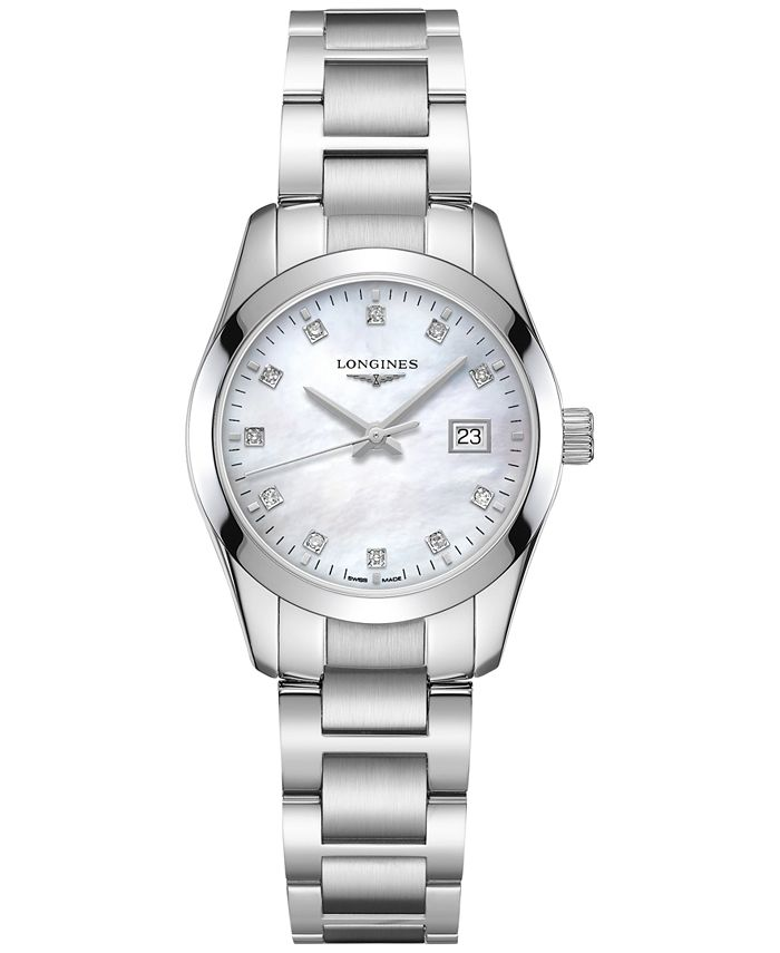 Longines - Women's Swiss Conquest Classic Diamond Accent Stainless Steel Bracelet Watch 29.5mm