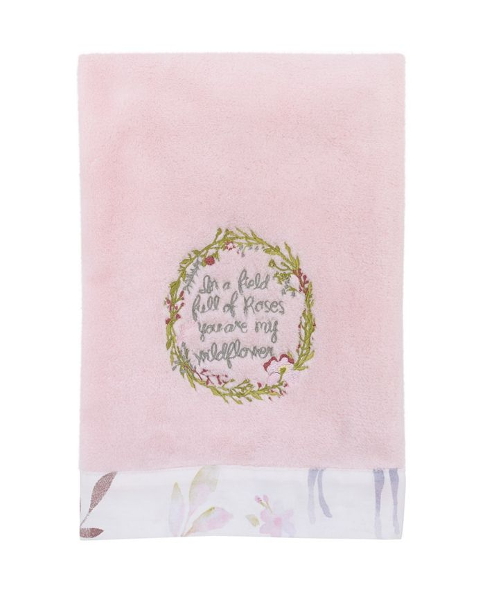 NoJo - Watercolor Deer Super Soft Plush Baby Blanket with Floral Wreath Embroidery
