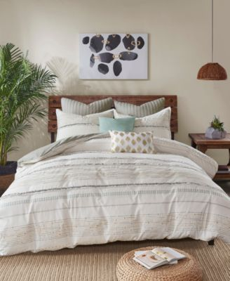 Nea Full/Queen 3 Piece Cotton Printed Duvet Cover Set with Trims