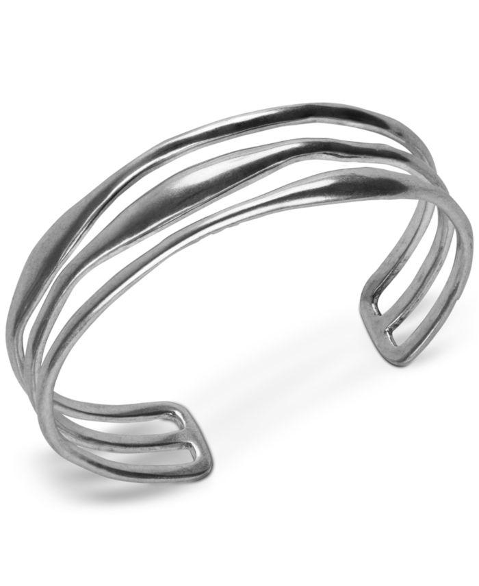 Lucky Brand Silver-Tone Triple-Row Cuff Bracelet & Reviews - Bracelets - Jewelry & Watches - Macy's