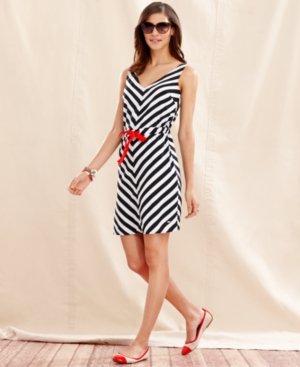 Tommy Hilfiger Dress, Sleeveless Striped V-Neck