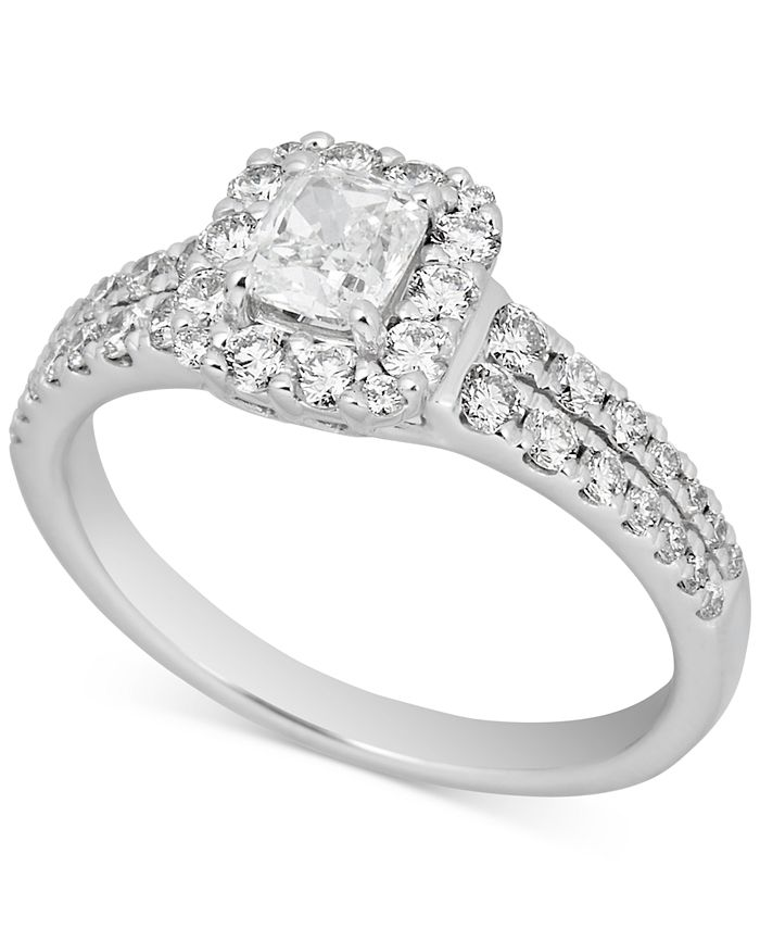 Macy's - Diamond Cushion Halo Engagement Ring (1-1/5 ct. t.w.) in 14k White Gold