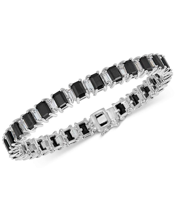 Macy's - Black Sapphire (18 ct. t.w.) & White Topaz (4 ct. t.w.) Tennis Bracelet in Sterling Silver
