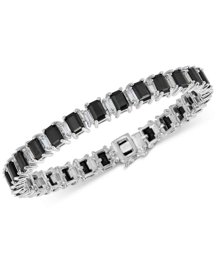 Macy's Black Sapphire (18 ct. t.w.) & White Topaz (4 ct. t.w.) Tennis Bracelet in Sterling Silver & Reviews - Bracelets - Jewelry & Watches - Macy's