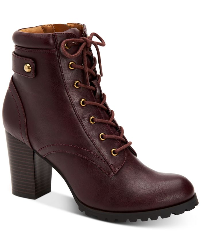 Style & Co Cassyn Lace-Up Lug Sole Booties, Created for Macy's & Reviews - Boots - Shoes - Macy's