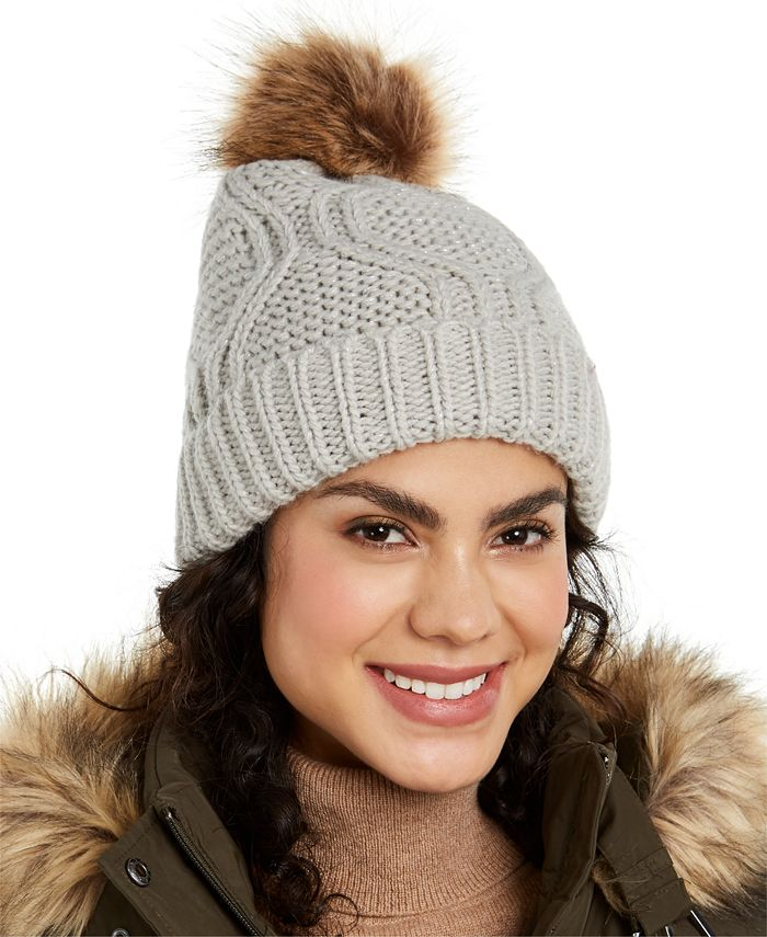 INC International Concepts - Cable-Shine Beanie with Faux-Fur Pom