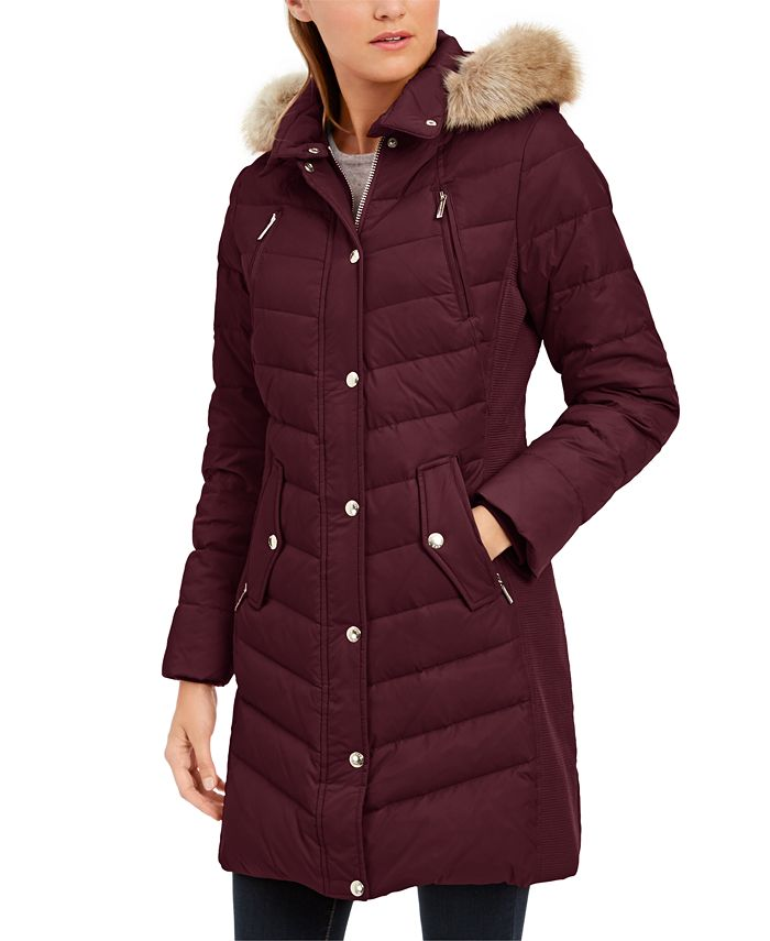 Michael Kors - Petite Chevron Hooded Down Coat