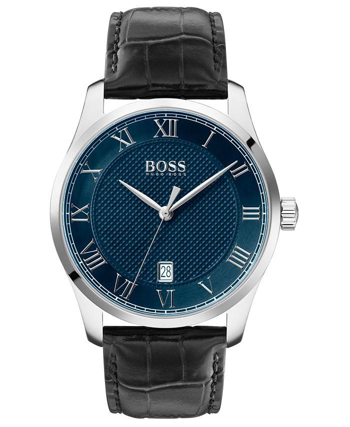BOSS - Men's Master Black Leather Strap Watch 41mm