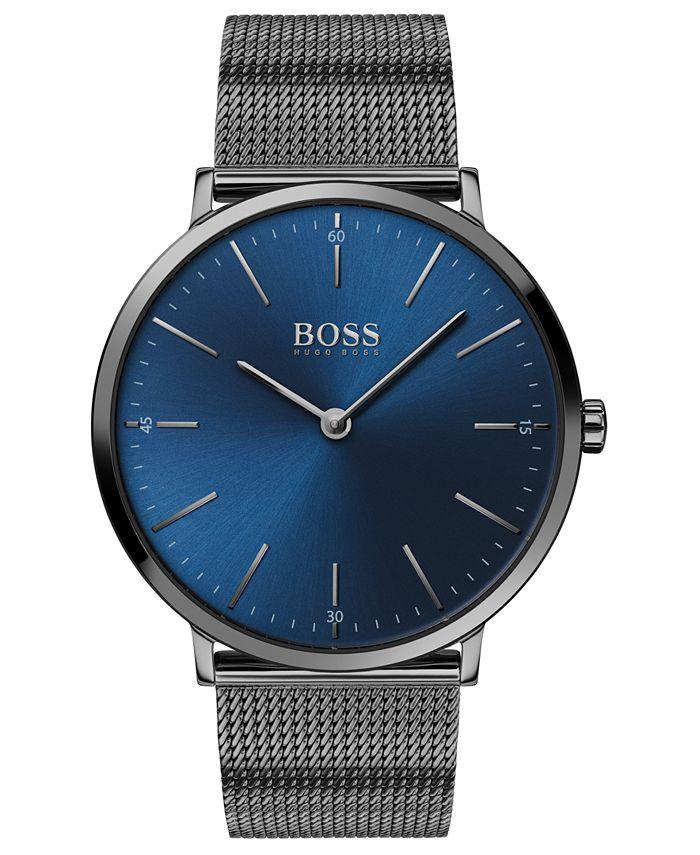 BOSS - Men's Horizon Ultra Slim Gray Ion-Plated Stainless Steel Bracelet Watch 40mm