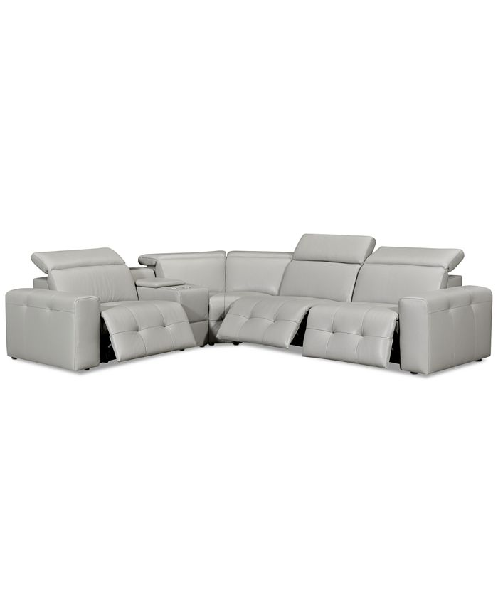 """Furniture - Haigan 5-Pc. Leather """"L"""" Shape Sectional Sofa with 3 Power Recliners"""