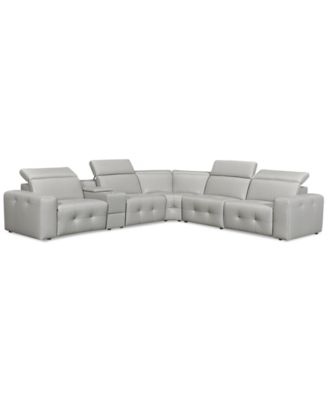 "Haigan 6-Pc. Leather ""L"" Shape Sectional Sofa with 2 Power Recliners, Created for Macy's"
