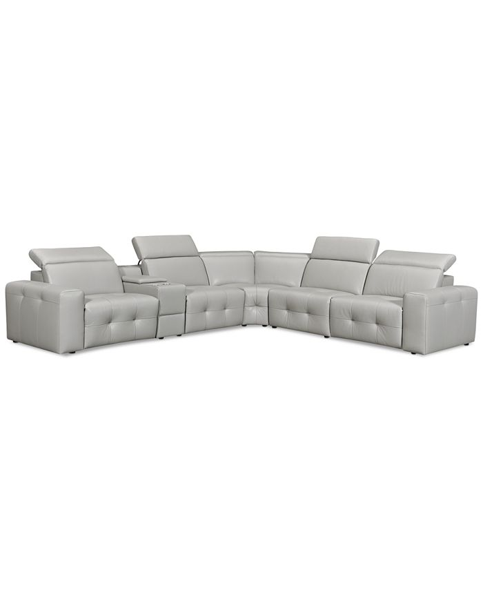 """Furniture - Haigan 6-Pc. Leather """"L"""" Shape Sectional Sofa with 2 Power Recliners"""