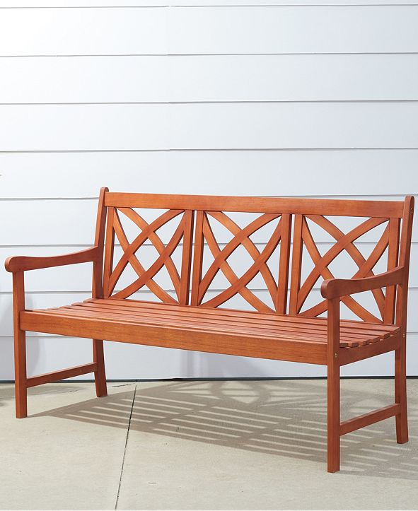 VIFAH Malibu Outdoor Patio Wood Garden Bench