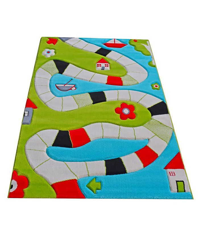 "IVI - Playway Turquoise  Soft Nursery Rug with a Playful Design for Kids Bedrooms and Playrooms, Non-Toxic, Hypo-Allergenic, 90""L x 63""W"