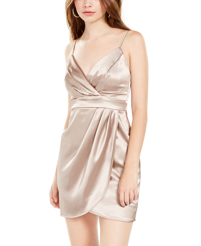 Teeze Me - Juniors' Satin Faux-Wrap Dress
