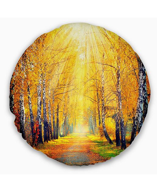 Design Art Designart Yellow Autumn Trees In Sunray Landscape Printed Throw Pillow 20 Round Reviews Decorative Throw Pillows Bed Bath Macy S