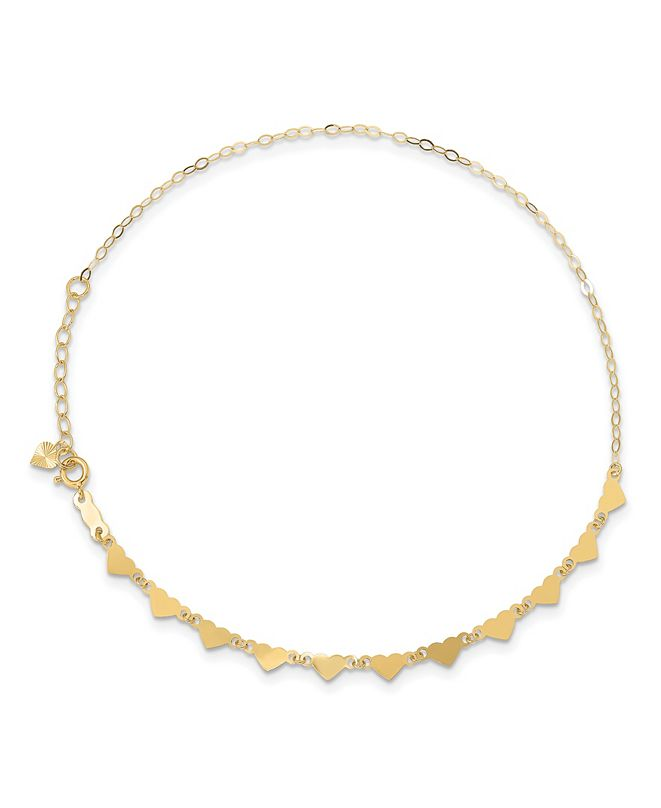 Macy's Anklet Oval and Hearts Chain Anklet in 14k Yellow Gold