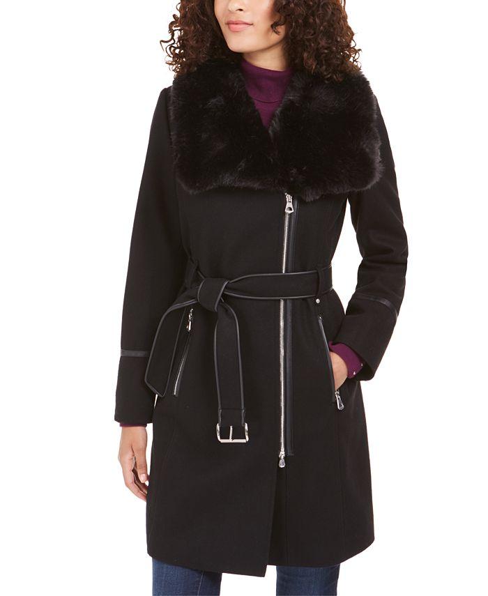 INC International Concepts - Faux-Fur-Collar Belted Faux-Leather-Trim Coat