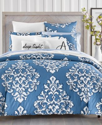Outline Damask Cotton 300-Thread Count 2-Pc. Twin Duvet Set, Created for Macy's