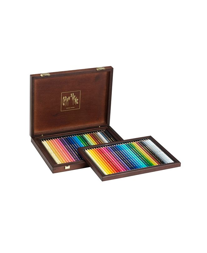 CARAN d'ACHE Pablo Permanent Pencil and Supracolor Soft Watercolor Pencils in A Wood Box, 30 Color Assortment