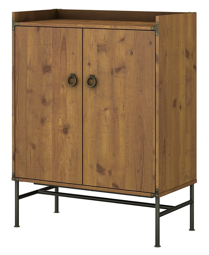 Kathy Ireland Home by Bush Furniture - kathy ireland® Home by Bush Furniture Ironworks Storage Cabinet with Doors in Vintage Golden Pine