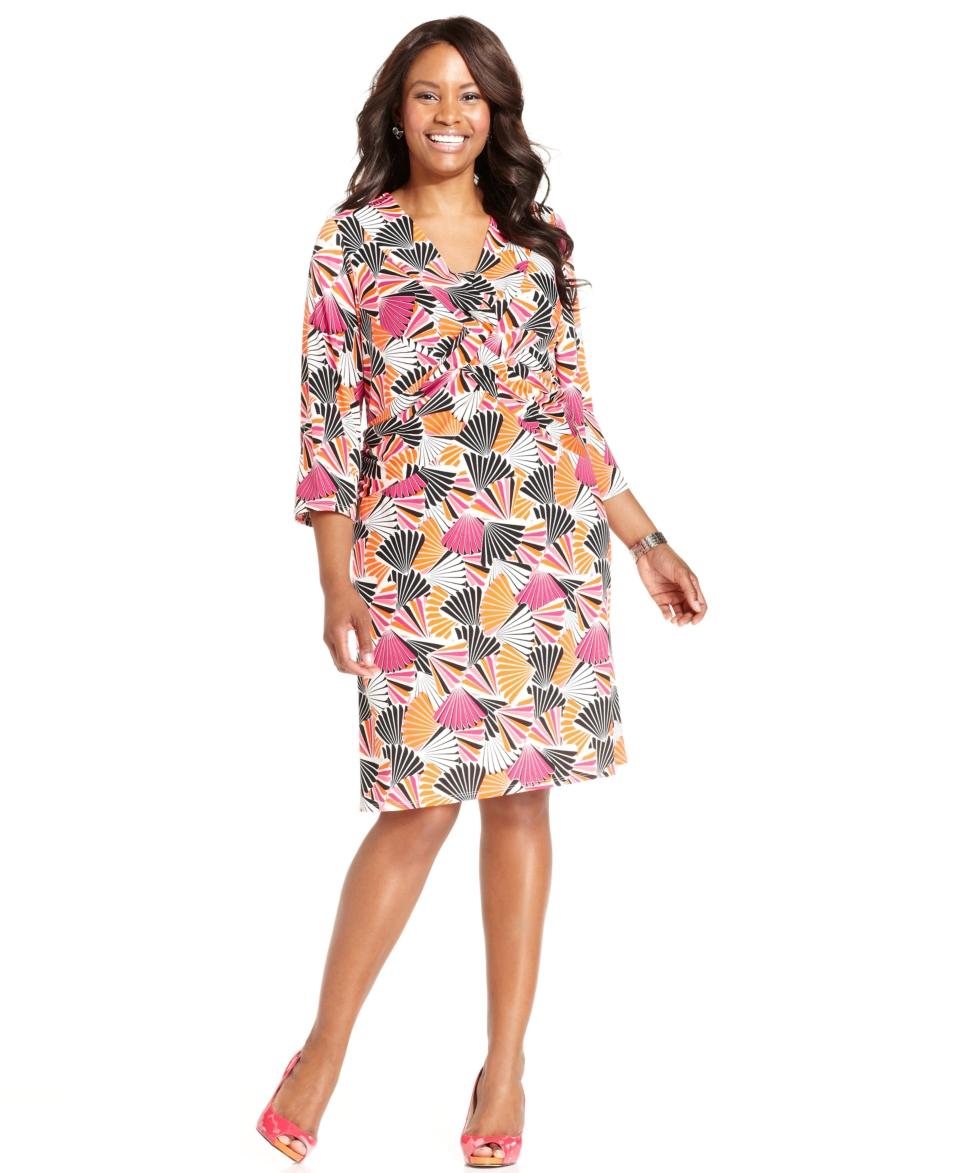 Elementz Plus Size Dress, B Slim Three Quarter Sleeve Printed