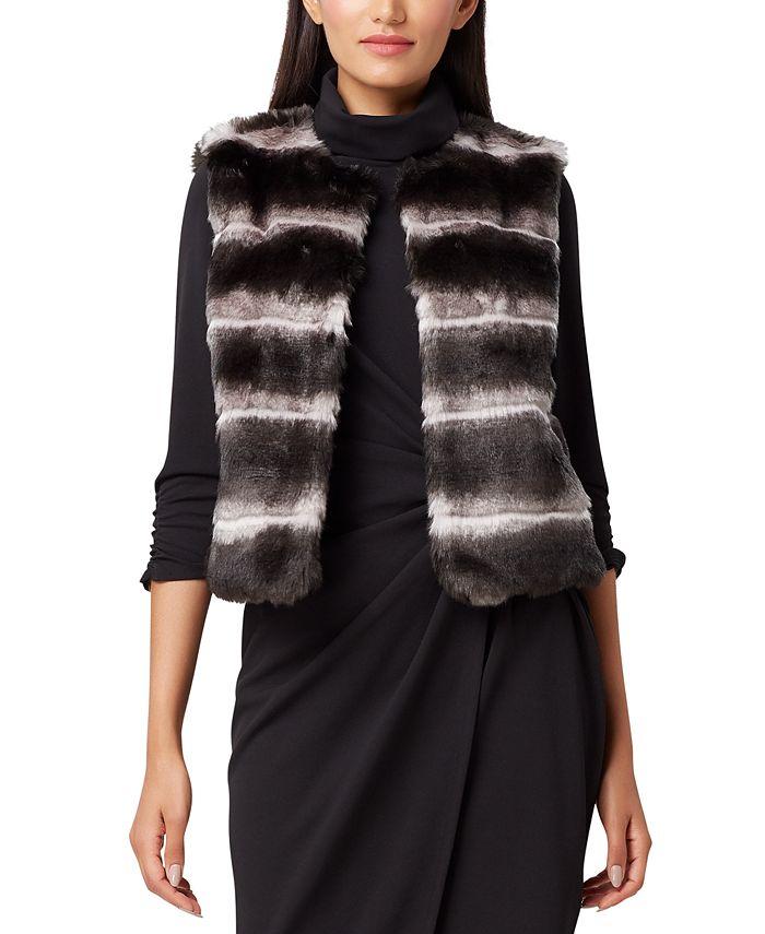 Tahari ASL - Leopard-Print Faux-Fur Vest