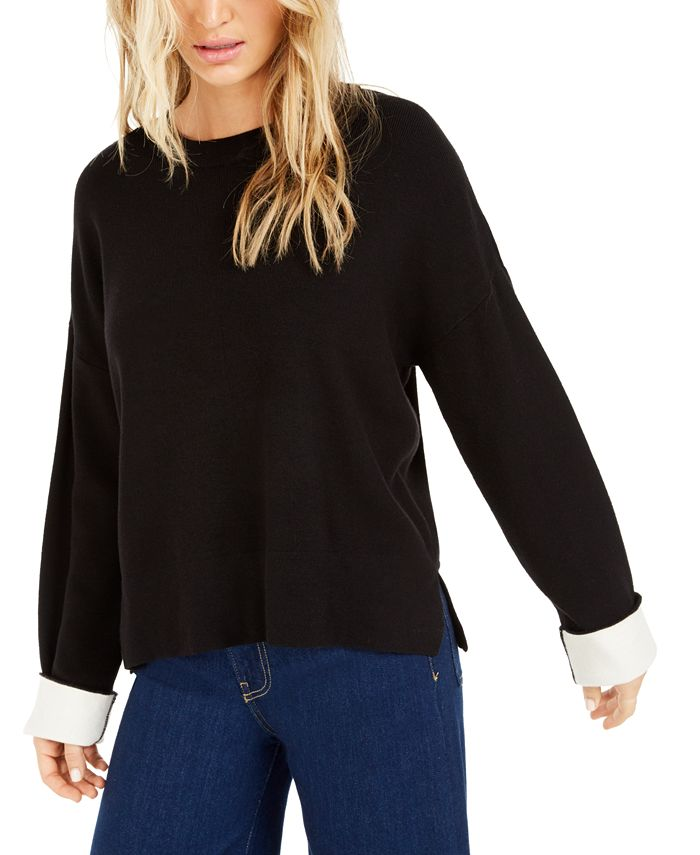 Bar III - Contrast-Cuff Crewneck Sweater