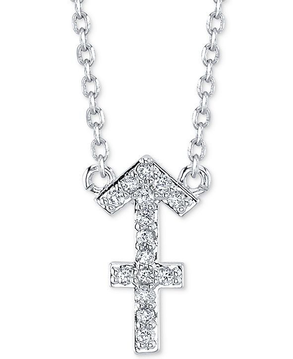 "Unwritten Cubic Zirconia Zodiac Pendant Necklace in Fine Silver Plating, 16"" + 2"" extender"