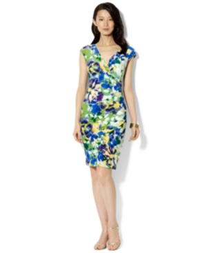Buy macys & suits - Lauren Ralph Lauren Dress, Cap-Sleeve Floral-Print Jersey Sheath