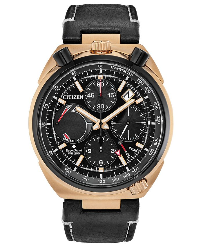 Citizen - Men's Chronograph Tsuno Racer Black Leather Strap Watch 45mm
