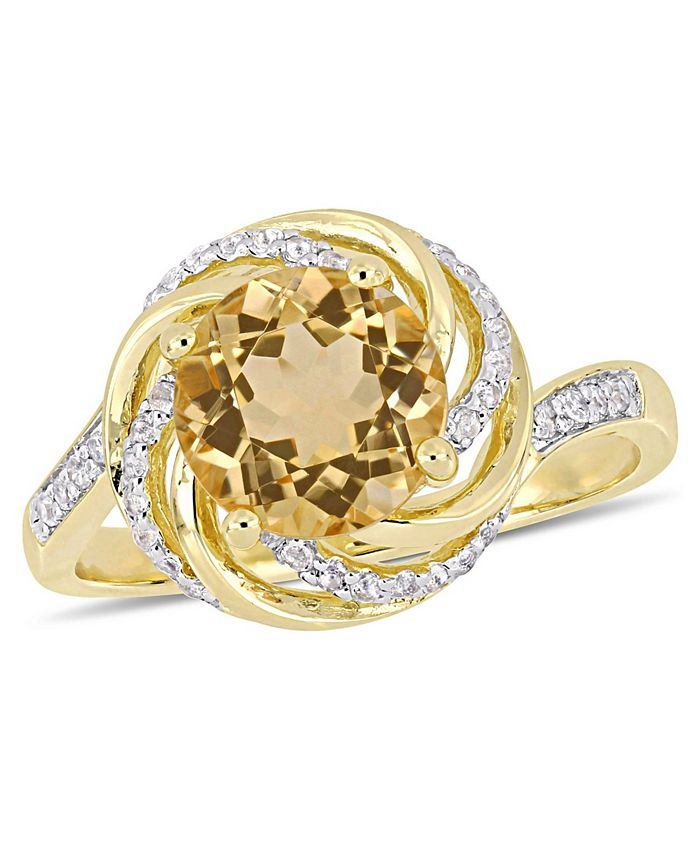 Macy's - Citrine (1-4/5 ct. t.w.), White Topaz (1/7 ct. t.w.) and Diamond Accent Swirl Ring in 18k Yellow Gold Over Sterling Silver