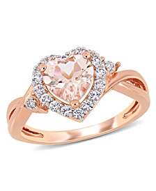 Morganite (1-1/10 ct. t.w.) Created White Sapphire (1/3 ct. t.w.) and Diamond Accent Heart Ring in 18k Rose Gold Over Silver