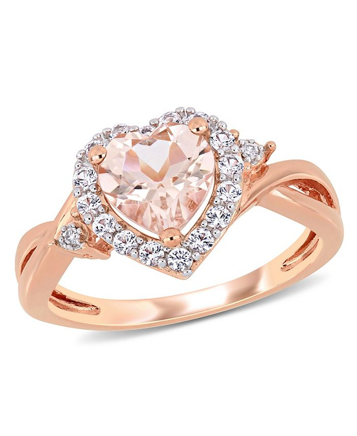 Macy's - Morganite, Created White Sapphire (1-2/5 ct. t.w.) and Diamond Accent Heart Ring in Rose Gold Over Silver