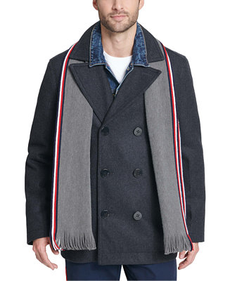 Tommy Hilfiger Men S Wool Blend Peacoat, Tommy Hilfiger Peacoat With Scarf