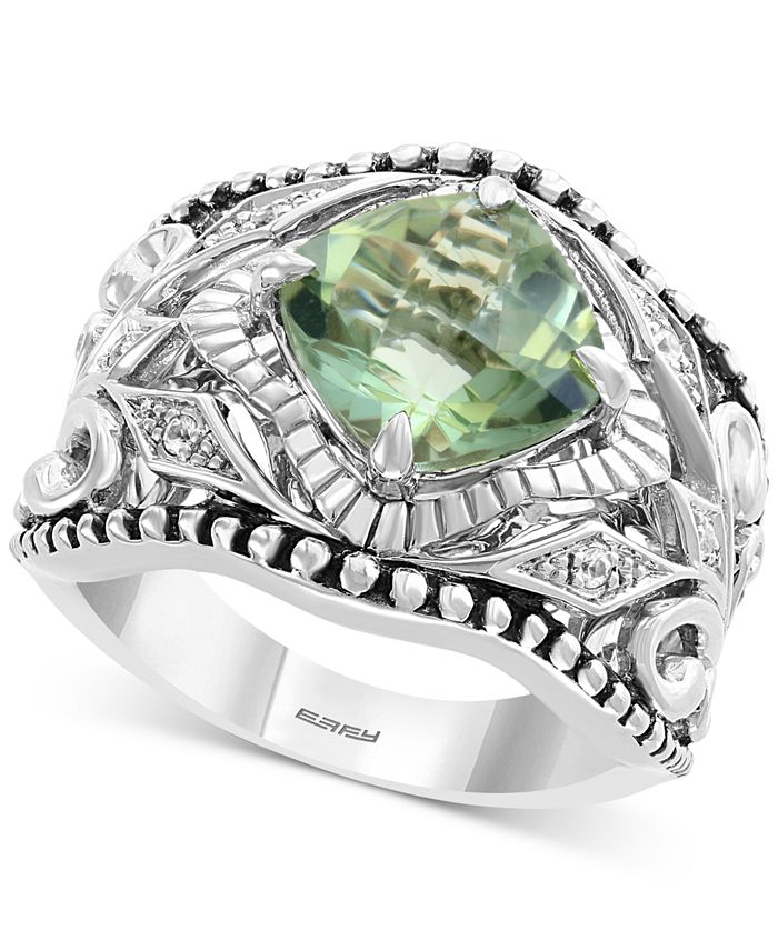 EFFY Collection - Green Quartz (3 ct. t.w.) & White Sapphire (1/20 ct. t.w.) Statement Ring in Sterling Silver
