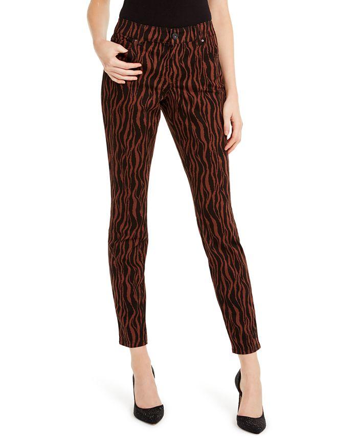 INC International Concepts - INCEssentials Tiger-Print Skinny Jeans
