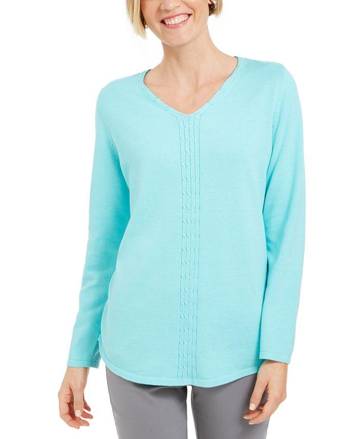 Karen Scott - Cotton Cable-Knit Sweater
