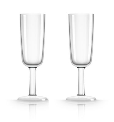 by Palm Tritan Flute Glass with white non-slip base, Set of 2