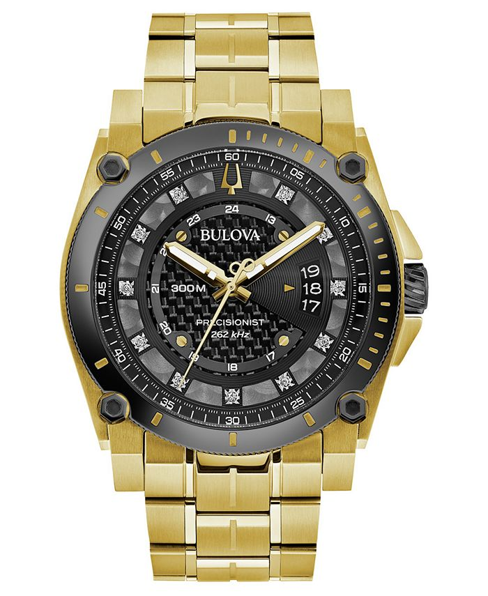 Bulova - Men's Precisionist Diamond-Accent Gold-Tone Stainless Steel Bracelet Watch 46.5mm
