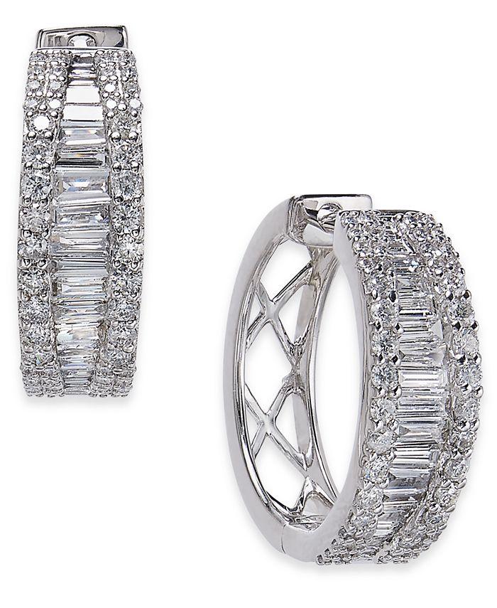 Macy's - Diamond Baguette Hoop Earrings (1-1/4 ct. t.w.) in 14k White Gold