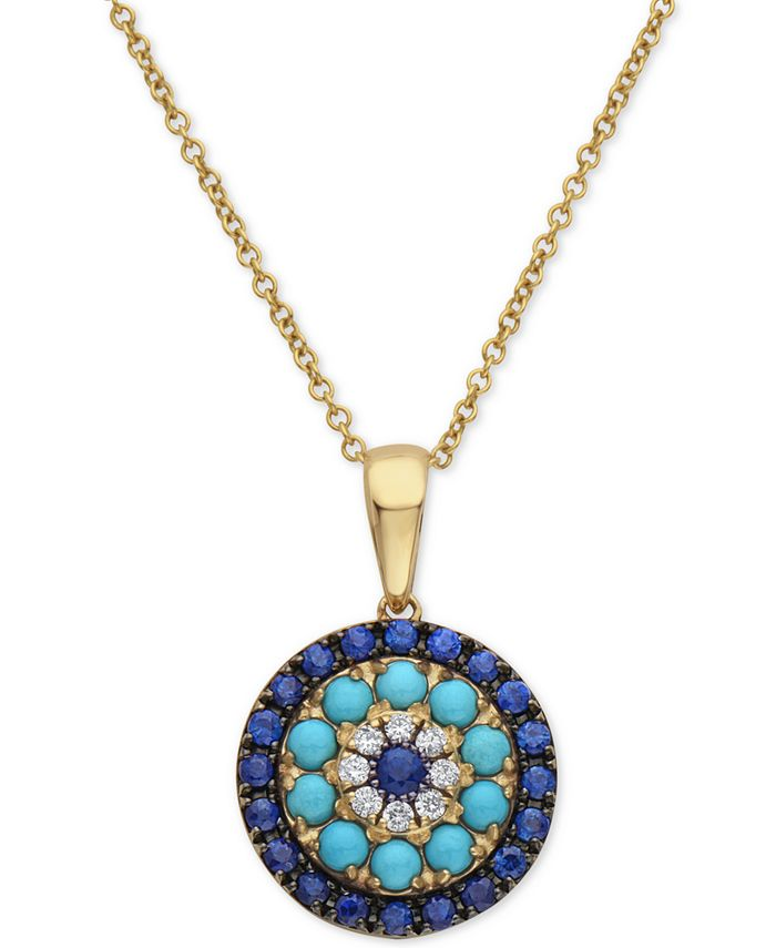 """EFFY Collection - Sapphire (1/2 ct. t.w.), Turquoise & Diamond (1/20 ct. t.w.) 16"""" Pendant Necklace in 14k Gold"""
