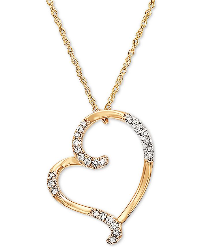 "Macy's - Diamond Heart 18"" Pendant Necklace (1/10 ct. t.w.) in 10k Gold"