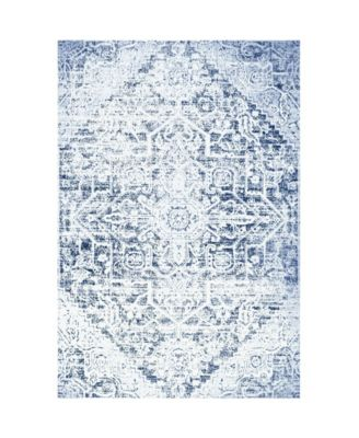 "Patio Sofia Fleur Dark Blue 7'9"" x 10'2"" Area Rug"