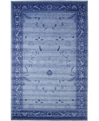 Aldrose Ald4 Blue 6' x 6' Square Area Rug